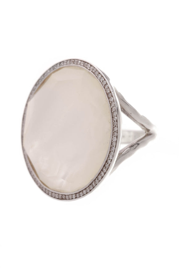 Ippolita Mother of Pearl Diamond Stella Large Lollipop Ring Silver Size 6.5