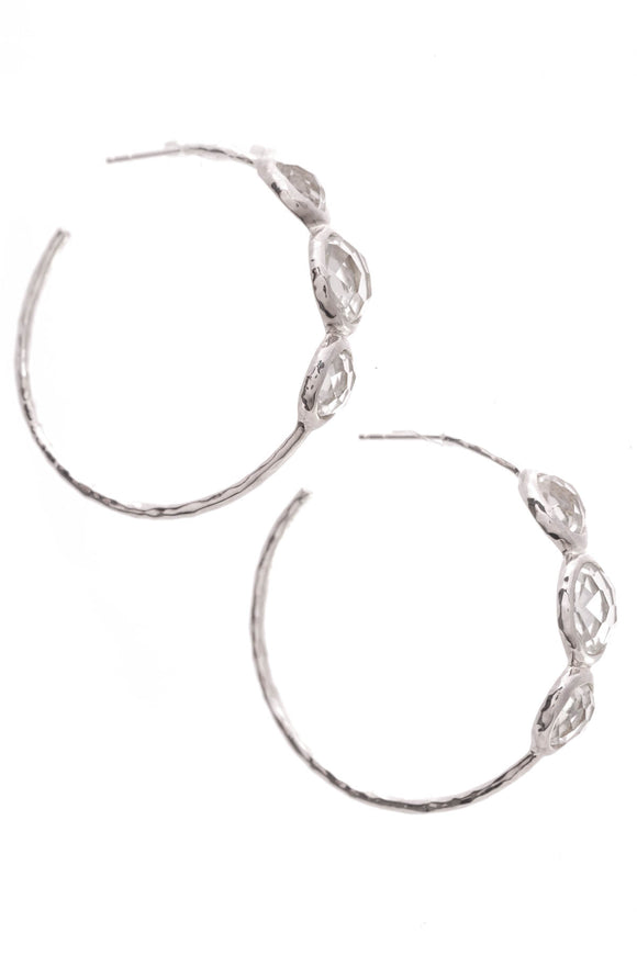 Ippolita Rock Candy Clear Quartz Hoop Earrings Silver
