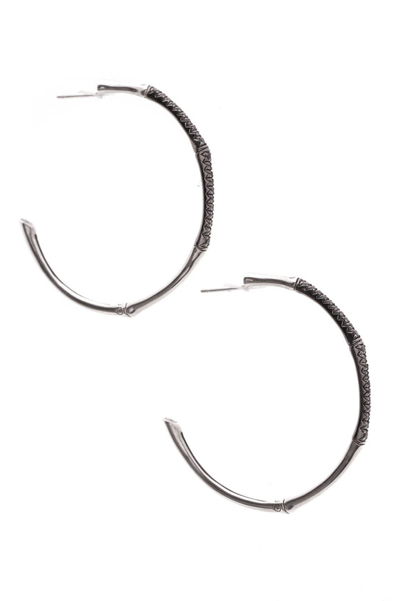 John Hardy Lava Black Sapphire Bamboo Hoop Earrings Silver