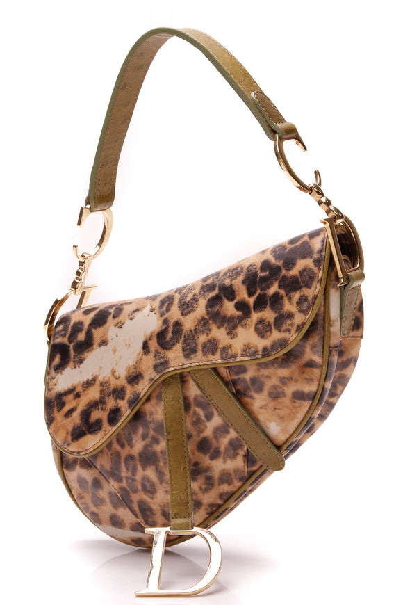 Chistian Dior Saddle Bag Leopard Brown Green
