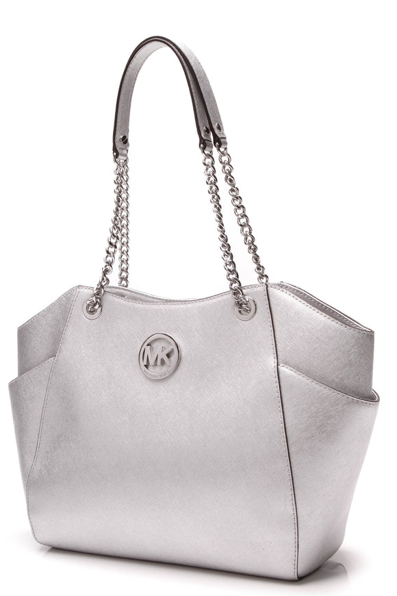 Michael Kors Jet Set Travel Large Chain Bag Silver