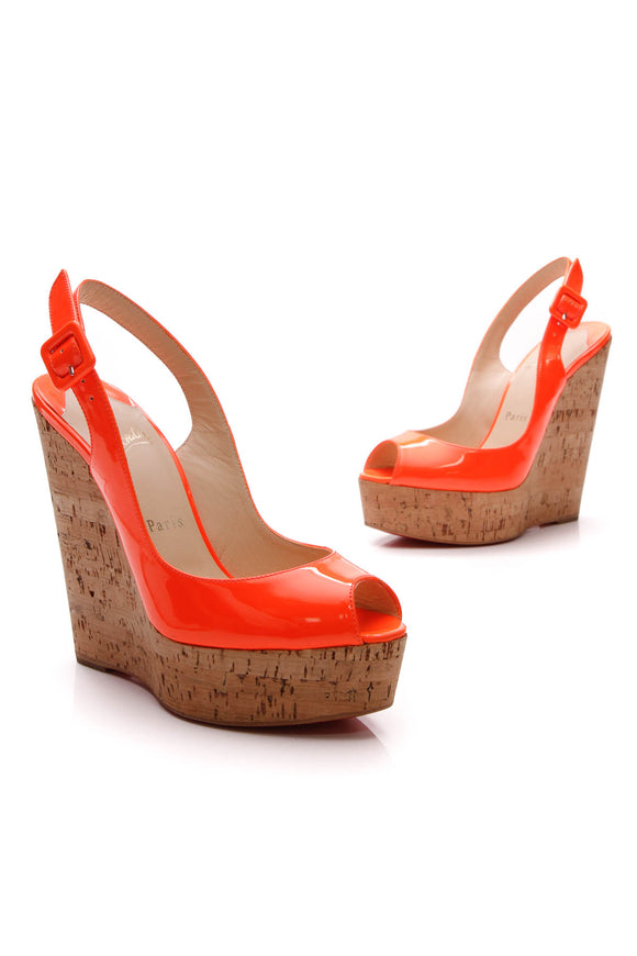 Christian Louboutin Une Plume Slingback Wedges Neon Orange Size 36