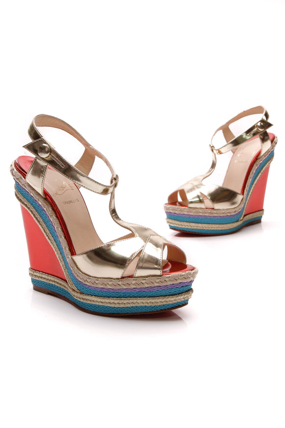 Christian Louboutin Trotolita 140 Wedges Multicolor Size 36