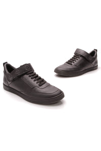 Louis Vuitton Passenger Men's Sneakers Leather Monogram Eclipse US Size 8 Black