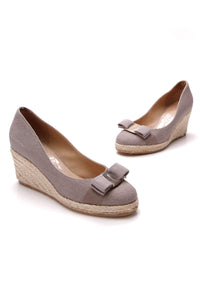 Salvatore Ferragamo Darly Vara Espadrille Wedges Gray Size 35