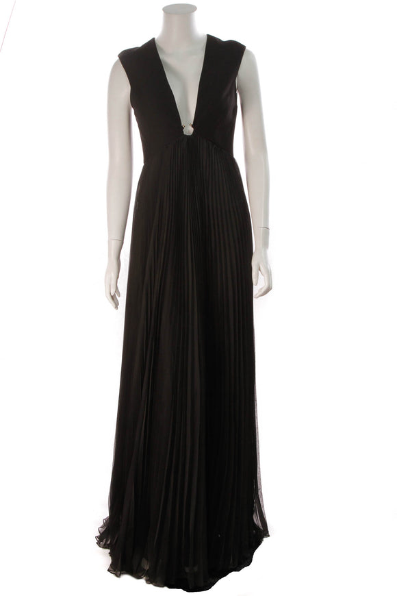 Halston Pleated Evening Dress Black Size 2