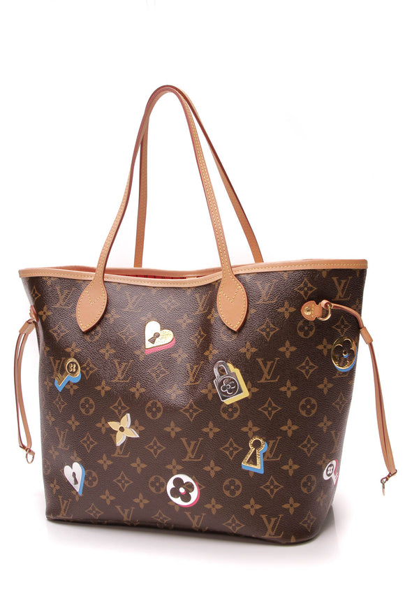 Louis Vuitton Love Locks Neverfull MM Tote Bag Monogram Brown
