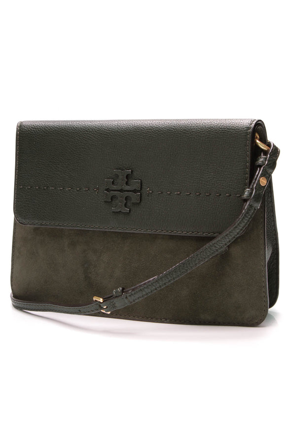 Tory Burch McGraw Shoulder Bag Olive Green