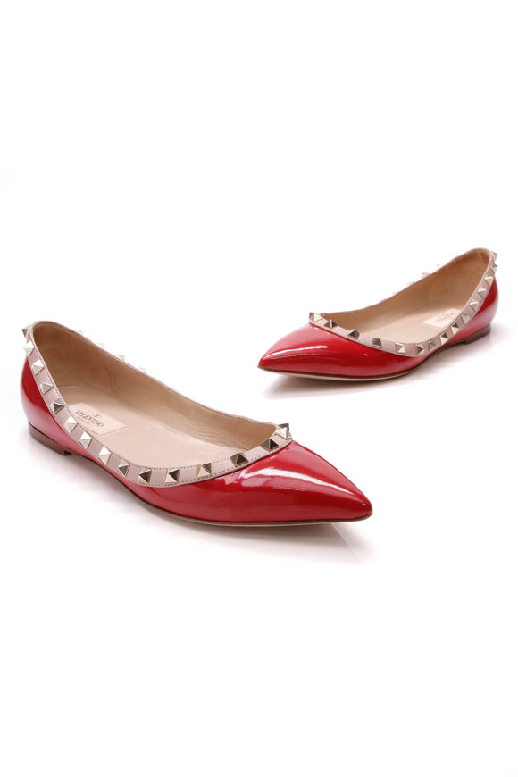 Valentino Rockstud Ballet Flats Red Patent Size 37.5