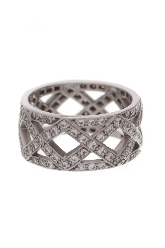 Tiffany & Co. Braided Diamond Band Ring Platinum Size 4.5