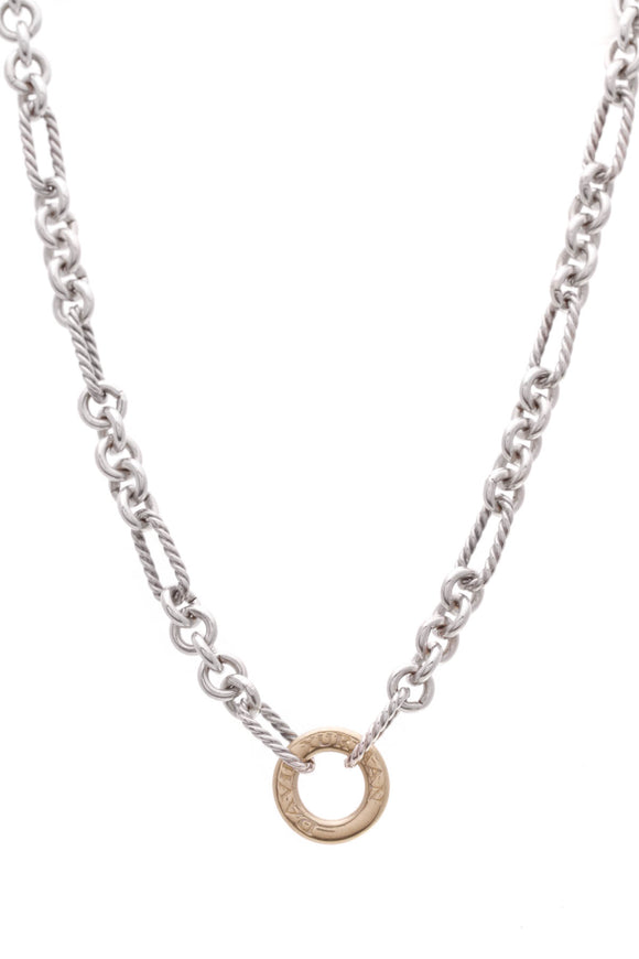 David Yurman Figaro Chain Necklace Silver Gold