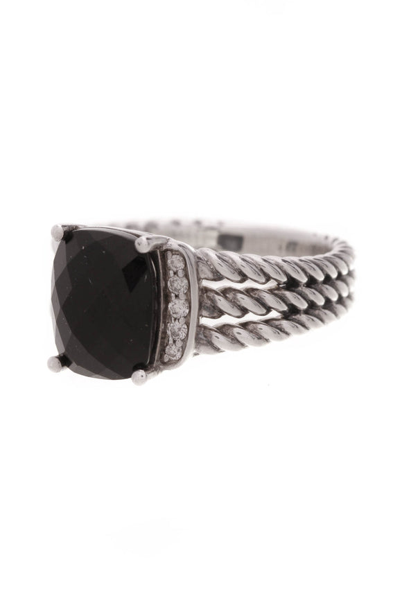 David Yurman Diamond Black Onyx Petite Wheaton Ring Silver Size 6.5