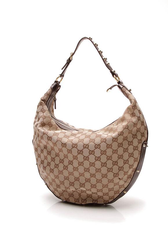 Gucci Studded Hobo Bag Signature Canvas