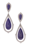 Pave Diamond Lapis Lazuli Estate Drop Earrings White Gold Blue