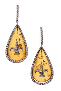Pave Diamond Amber Drop Earrings Rhodium Plated Yellow Gold