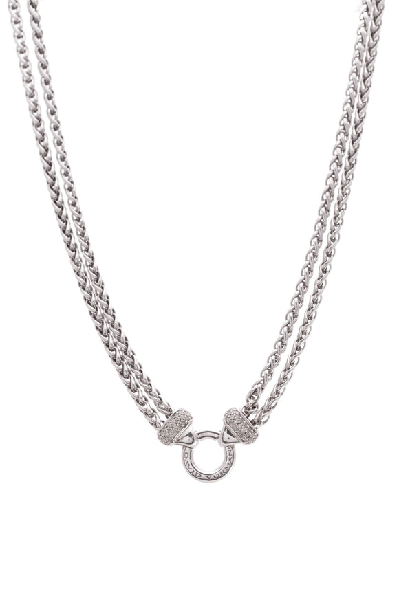 David Yurman Diamond Double Wheat Chain Necklace Silver