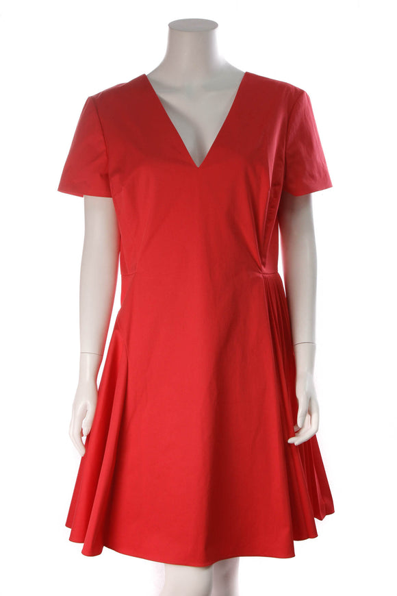 Christian Dior Pleated Flare Dress Red Size 14