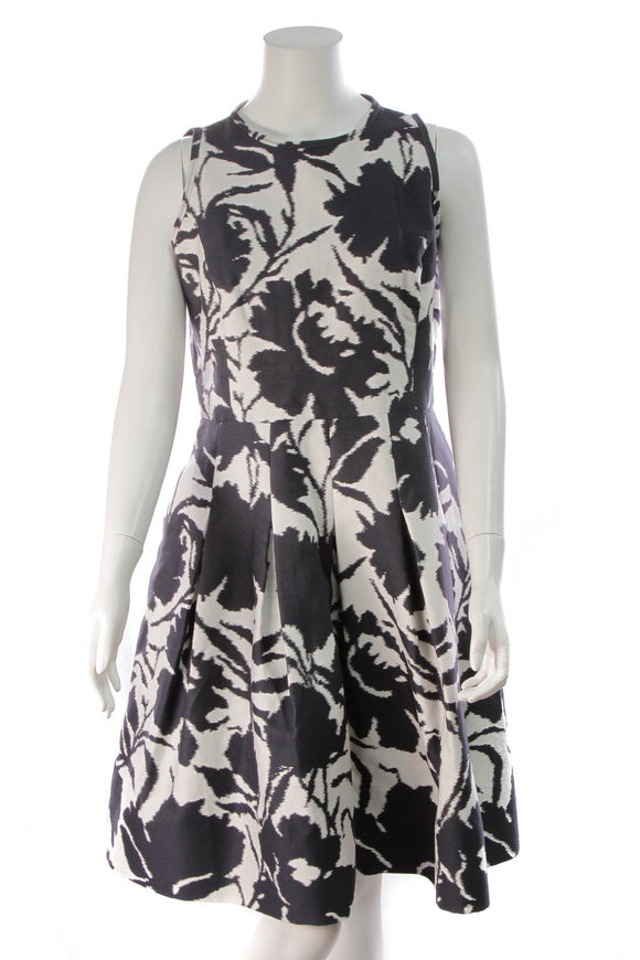 Oscar de la Renta Floral Print Fit & Flare Dress Navy White Size 14
