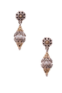 Konstantino Pearl Embellished Drop Earrings Silver Gold