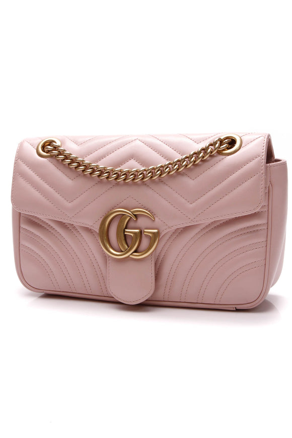 Gucci Marmont Small Shoulder Bag Matelasse Leather Pink