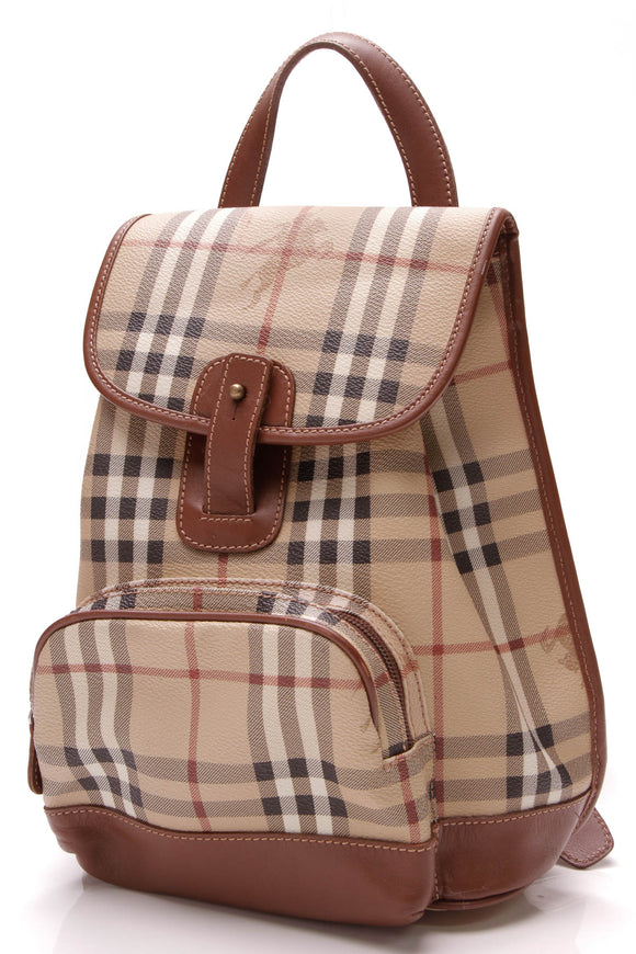Burberry Drawstring Backpack Haymarket Check Brown