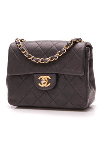 Chanel Vintage Classic Mini Flap Bag Black Lambskin