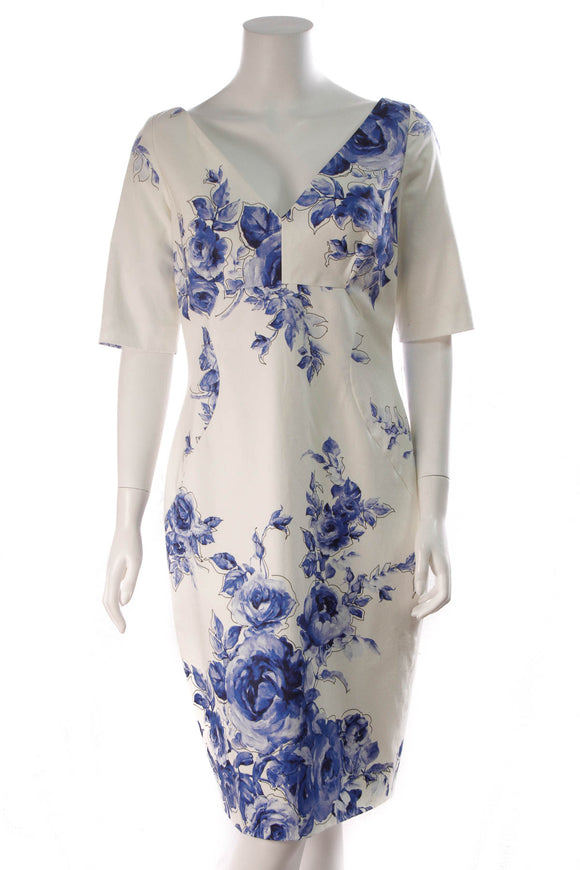Lela Rose Rose Print Dress White Blue Size 12