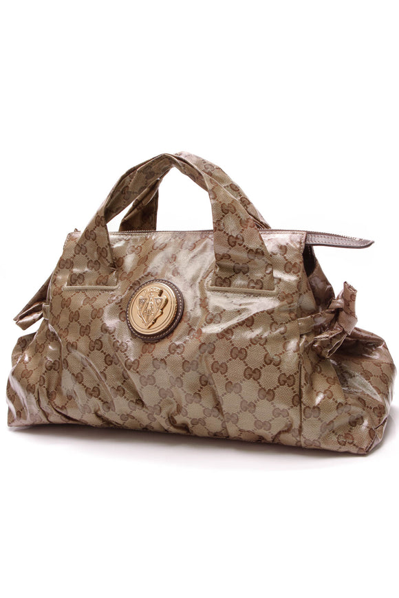 Gucci Medium Hysteria Tote Bag Crystal Canvas Brown