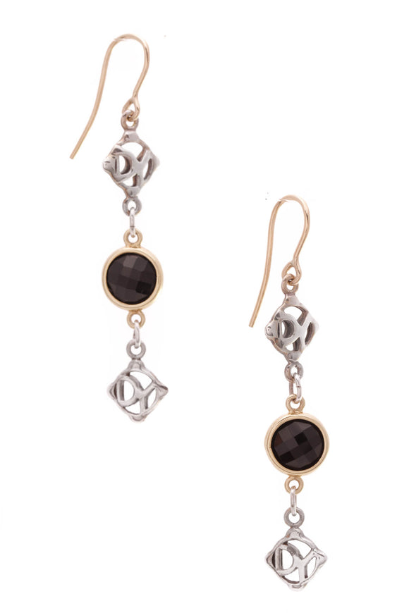 David Yurman Black Onyx DY Logo Drop Earrings Silver Gold