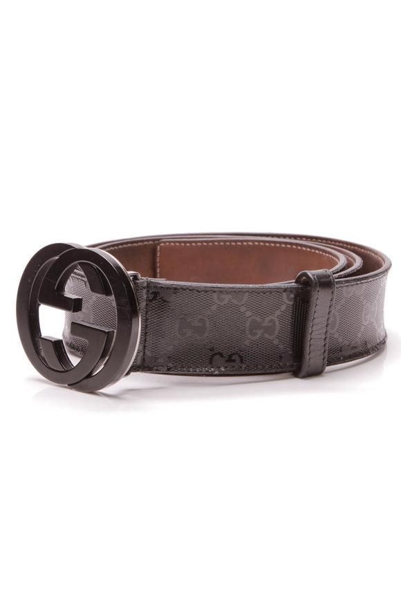 Gucci Interlocking G Buckle Belt Imprime Leather Size 40 black