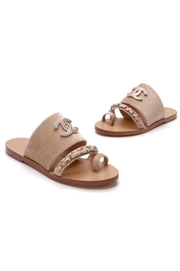 Chanel Velvet CC Chain Sandals Beige Size 37.5