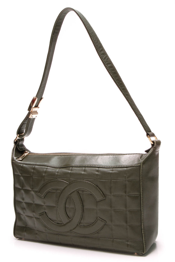 Chanel Chocolate Bar Shoulder Bag Olive Green Lambskin