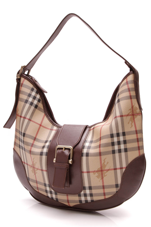 Burberry Buckle Hobo Bag Haymarket Check Brown