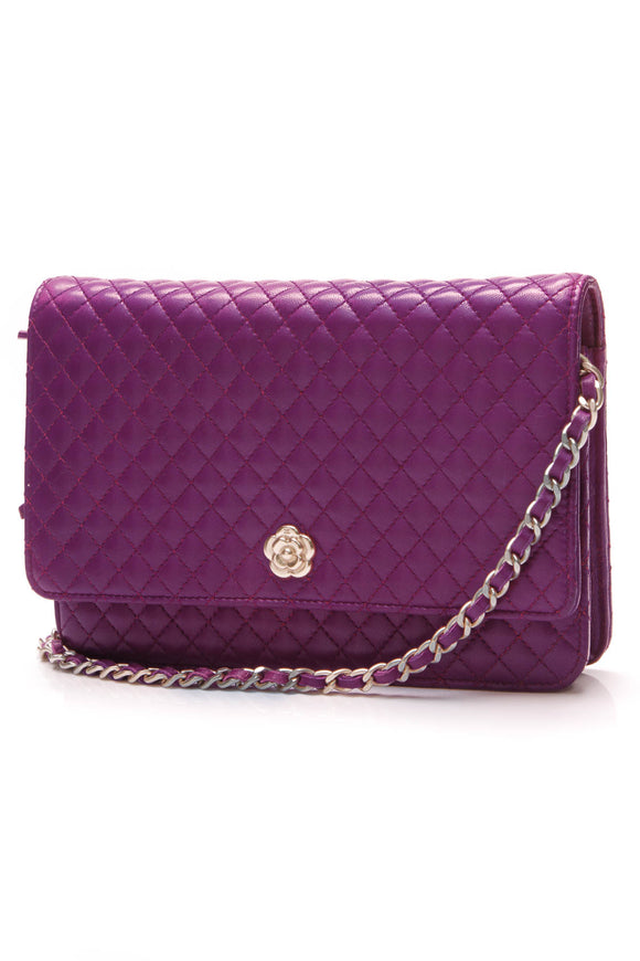 Chanel Camellia WOC Bag Violet Micro-quilted Calfskin Purple
