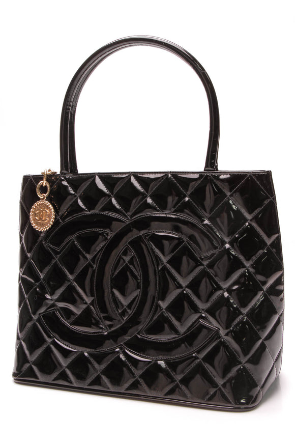 Chanel Medallion Tote Bag Black Patent