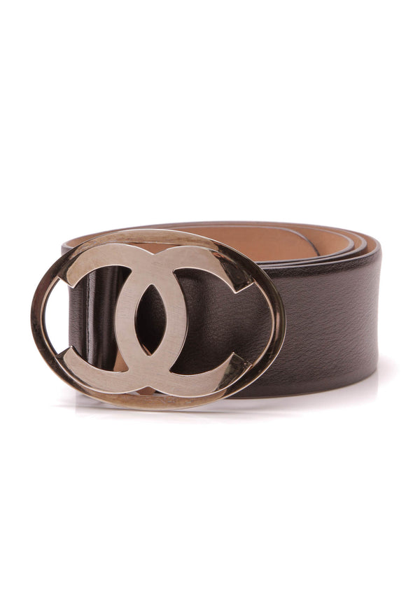 Chanel CC Logo Wide Belt Black Size 40