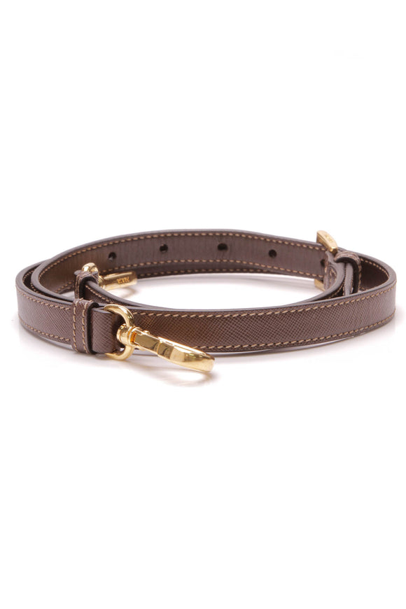Prada Saffiano Leather Adjustable Strap Brown