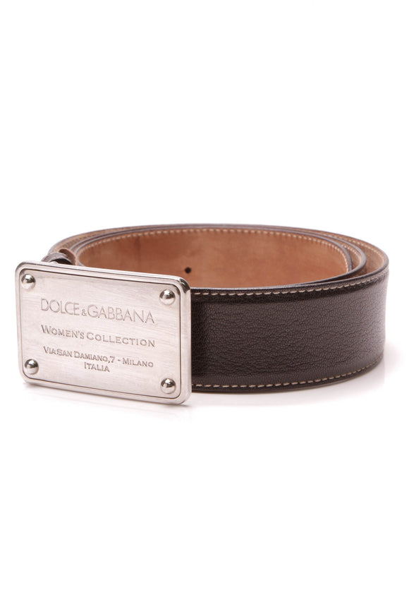 Dolce and Gabbana Women's Collection Logo Buckle Belt Black Size 36