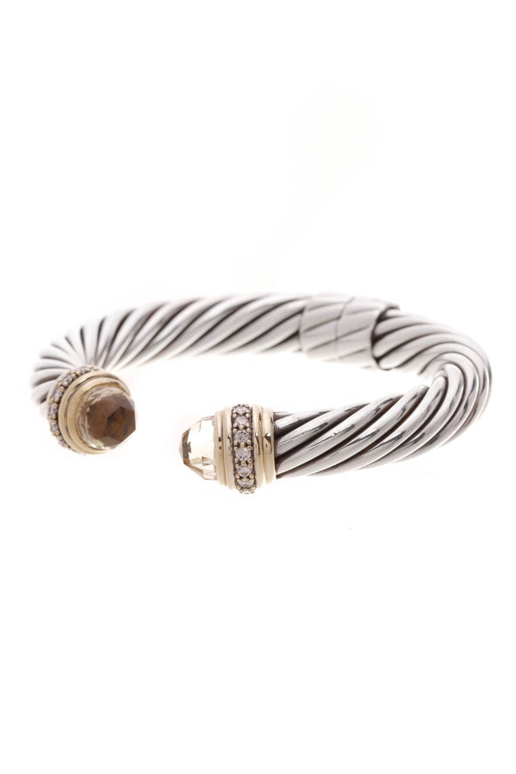 David Yurman 10mm Citrine Diamond Cable Hinge Bracelet Silver Gold