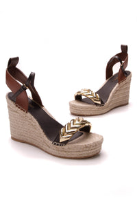 Louis Vuitton Spring Hill Espadrille Sandals Brown Size 38.5