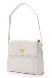 Chanel Vintage Quilted Shoulder Bag White Caviar