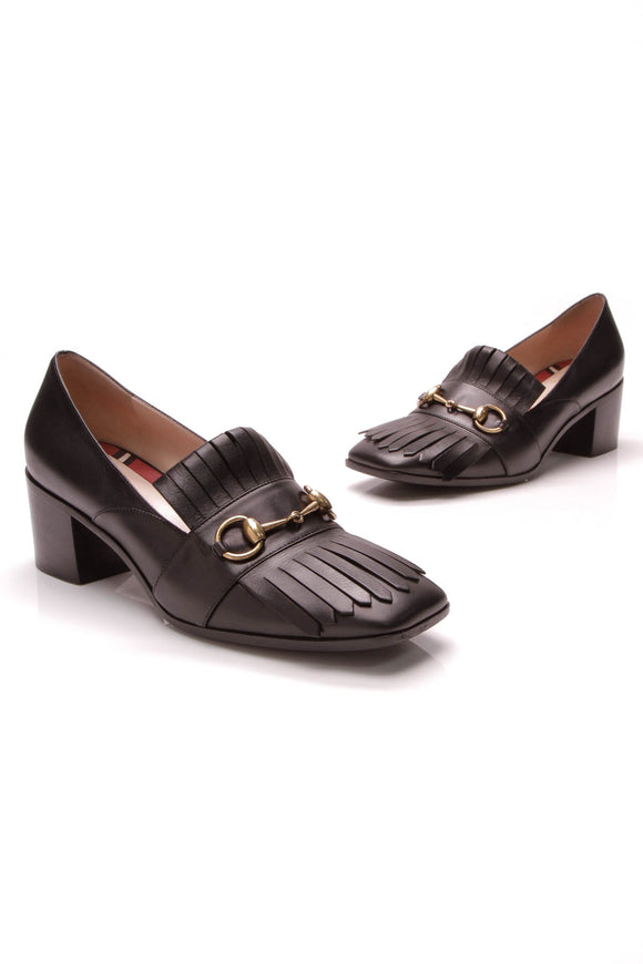 Gucci Polly Kiltie Loafer Pumps Black Size 39