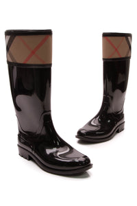 Burberry Crosshill Rain Boots Rubber House Check Size 39 Black