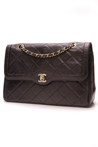 Chanel Vintage Limited Paris Medium Double Flap Bag Black Lambskin