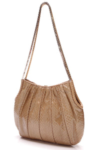 Judith Leiber Pleated Python Shoulder Bag Tan