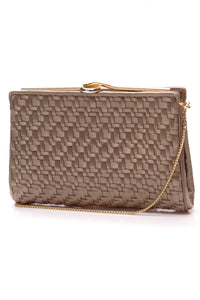 Judith Leiber Woven Satin Clutch Bag Taupe
