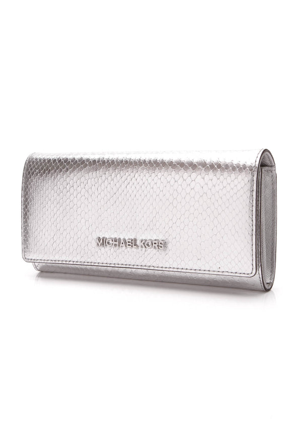 Michael Kors Jet Set Embossed Wallet Metallic Silver