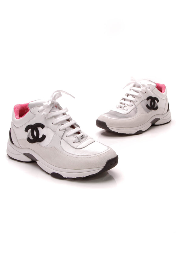 Chanel CC Low Top Sneakers White Neon Pink Size 39
