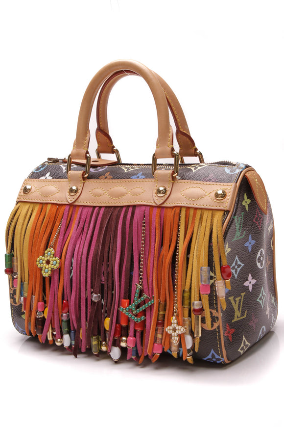 Louis Vuitton Limited Edition Fringe Speedy 25 Bag Black Multicolore Monogram