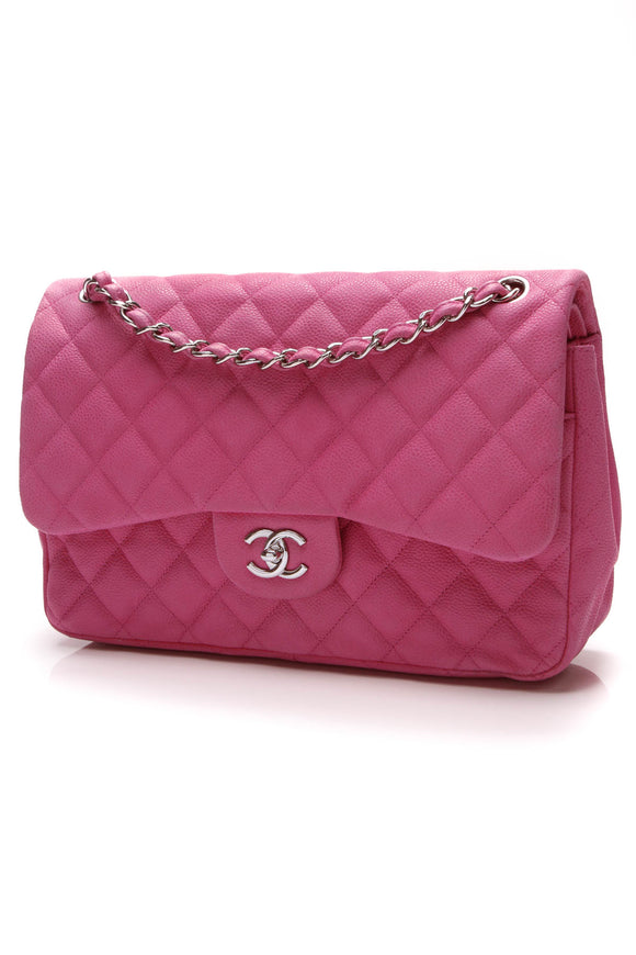 Chanel Classic Double Flap Bag Jumbo Pink Matte Caviar